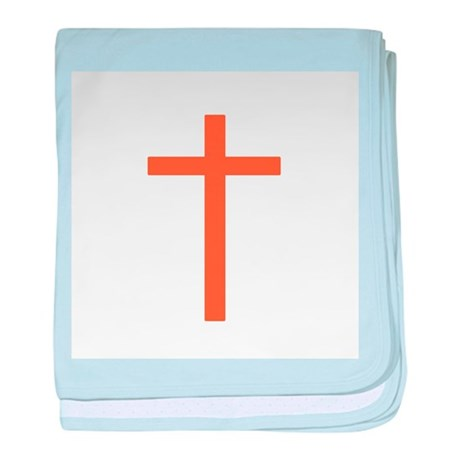 Orange Cross baby blanket