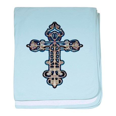 Ornate Cross baby blanket