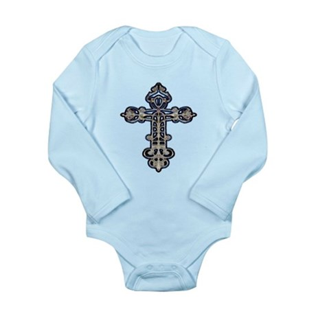 Ornate Cross Long Sleeve Infant Bodysuit