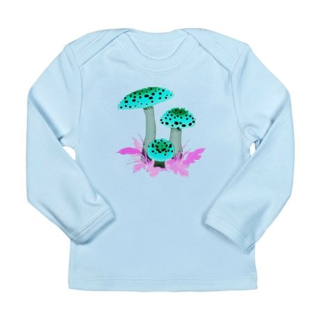 Teal Mushrooms Long Sleeve Infant T-Shirt