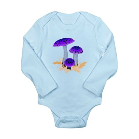 Purple Mushrooms Long Sleeve Infant Bodysuit