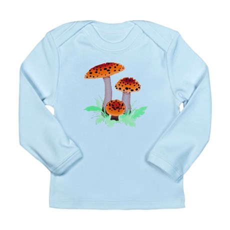 Orange Mushrooms Long Sleeve Infant T-Shirt