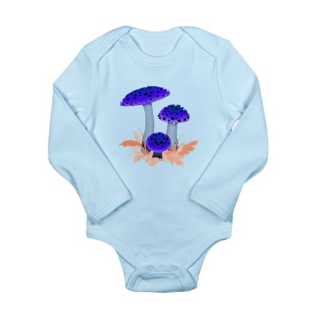 Blue Mushrooms Long Sleeve Infant Bodysuit