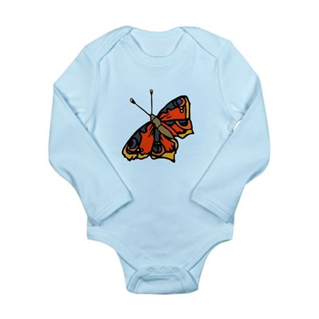 Orange Butterfly Long Sleeve Infant Bodysuit
