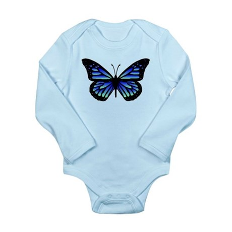 Blue Butterfly Long Sleeve Infant Bodysuit
