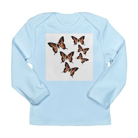 Orange Butterflies Long Sleeve Infant T-Shirt