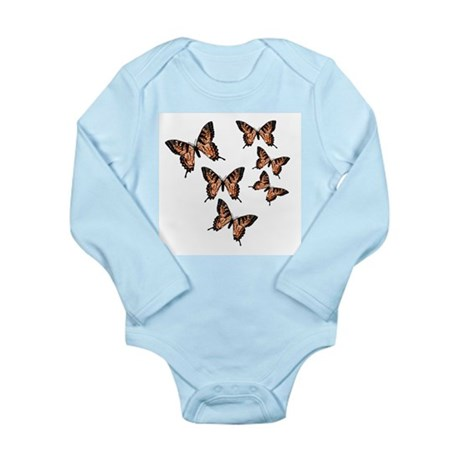 Orange Butterflies Long Sleeve Infant Bodysuit