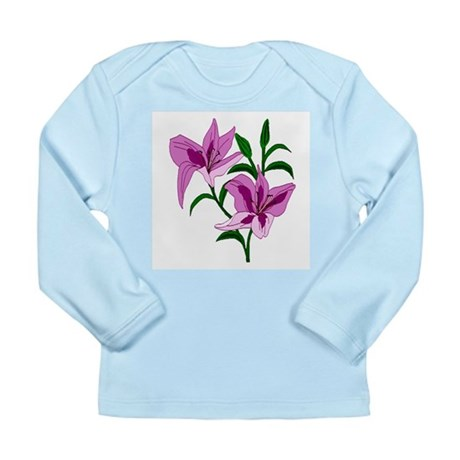 Pink Lilies Long Sleeve Infant T-Shirt