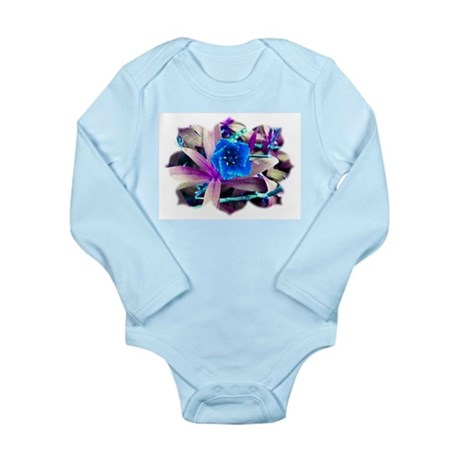 Blue Flower Long Sleeve Infant Bodysuit