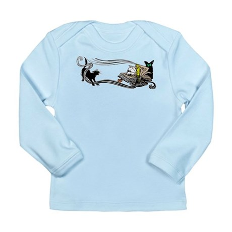 Spooky Black Cat and Skull Long Sleeve Infant T-Sh