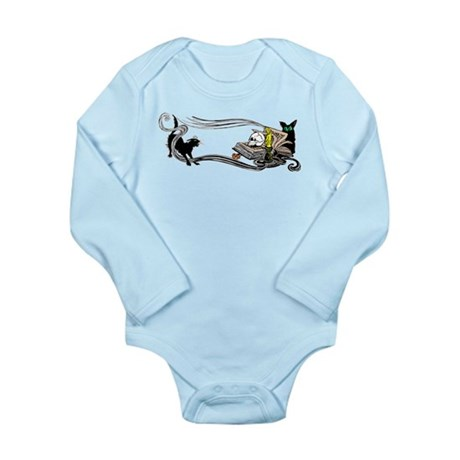 Spooky Black Cat and Skull Long Sleeve Infant Body