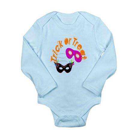 Trick or Treat Masks Long Sleeve Infant Bodysuit