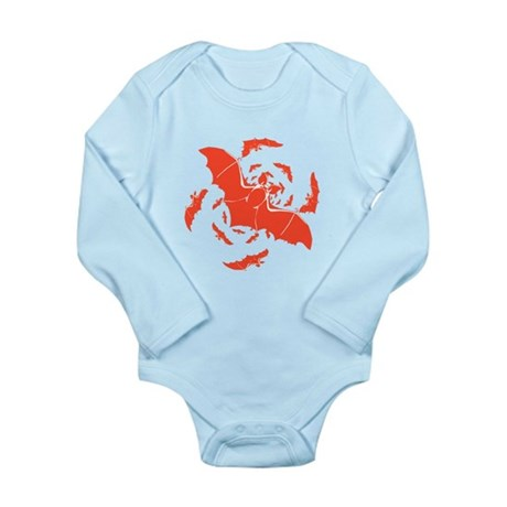 Orange Bats Long Sleeve Infant Bodysuit