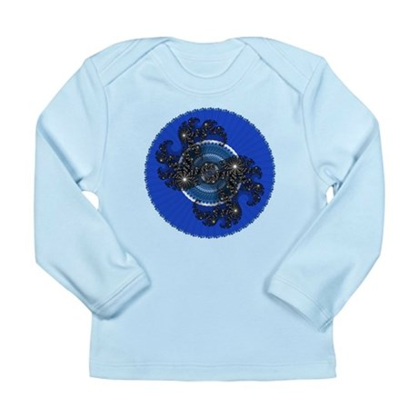 Fractal Kaleidoscope Blue Long Sleeve Infant T-Shi