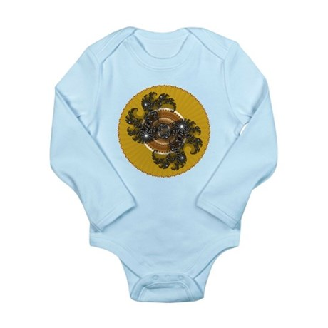 Fractal Kaleidoscope Gold Long Sleeve Infant Bodys