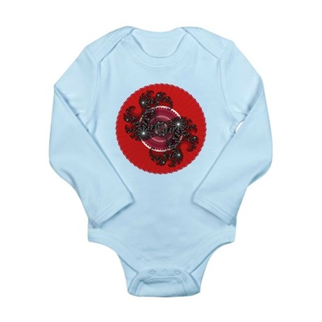 Fractal Kaleidoscope Red 2 Long Sleeve Infant Body