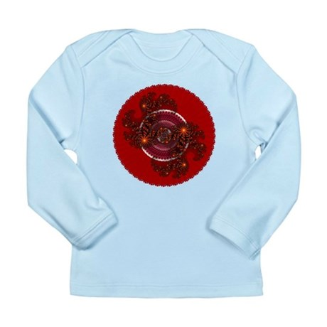 Fractal Kaleidoscope Red Long Sleeve Infant T-Shir