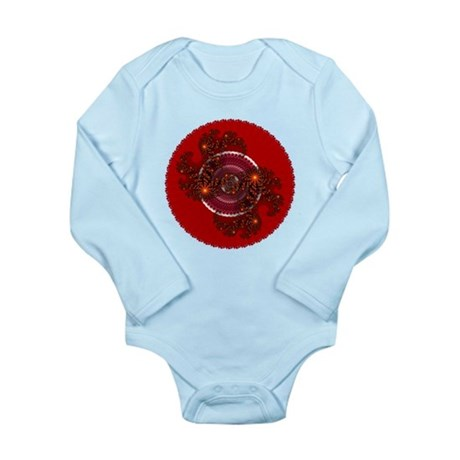 Fractal Kaleidoscope Red Long Sleeve Infant Bodysu
