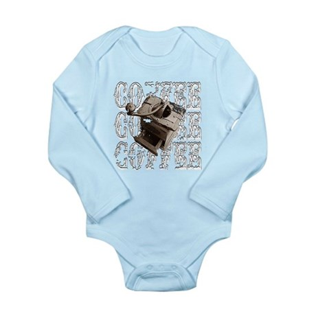 Coffee Grinder - White - Long Sleeve Infant Bodysu
