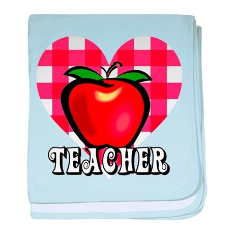 Teacher Checkered Heart Apple baby blanket