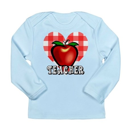 Teacher Checkered Heart Apple Long Sleeve Infant T
