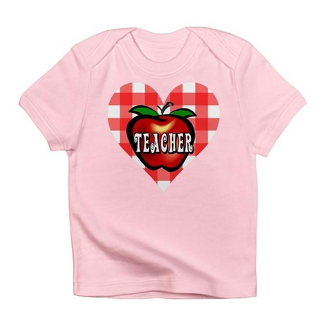 Teacher Checkered Heart Apple Infant T-Shirt