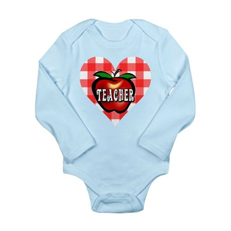 Teacher Checkered Heart Apple Long Sleeve Infant B