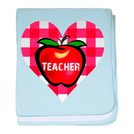 Teacher Heart Apple baby blanket