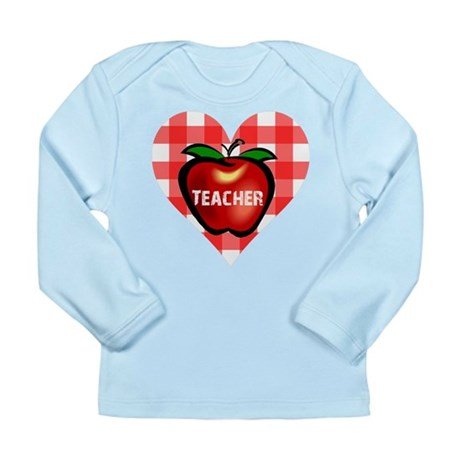 Teacher Heart Apple Long Sleeve Infant T-Shirt