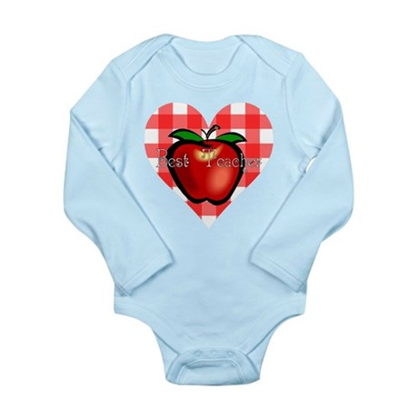 Best Teacher Checkered Heart Long Sleeve Infant Bo