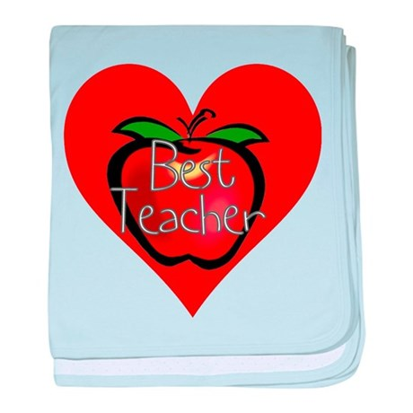 Best Teacher Apple Heart baby blanket