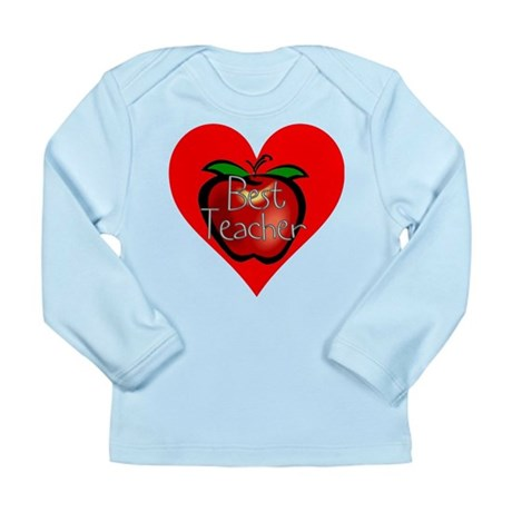 Best Teacher Apple Heart Long Sleeve Infant T-Shir