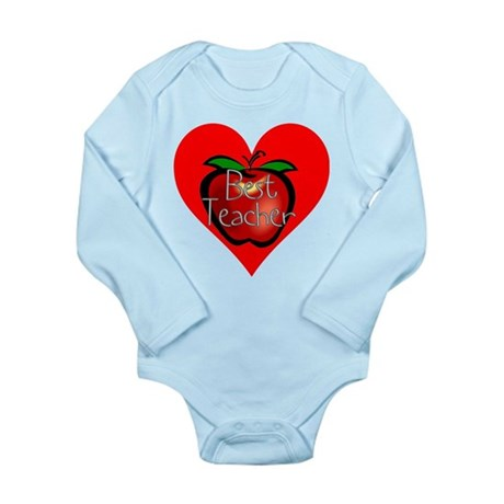 Best Teacher Apple Heart Long Sleeve Infant Bodysu