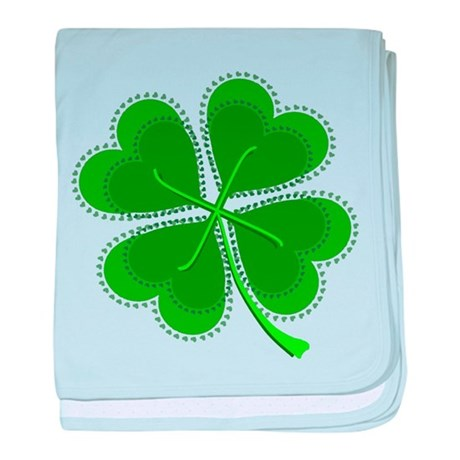 Lucky Four Leaf Clover baby blanket