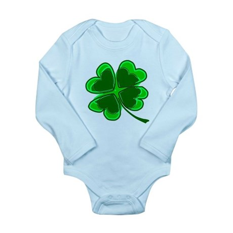 Lucky Four Leaf Clover Long Sleeve Infant Bodysuit