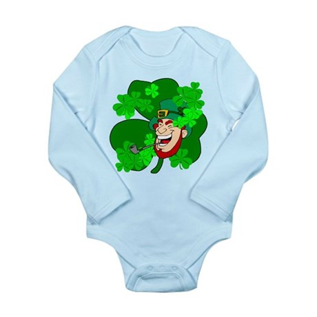 Leprechaun Shamrocks Long Sleeve Infant Bodysuit