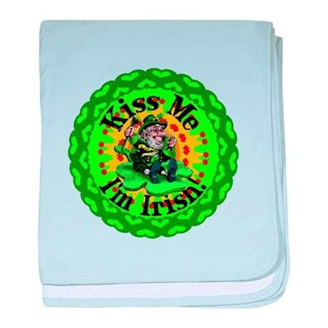 Kiss Me Irish Leprechaun baby blanket