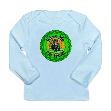 Kiss Me Irish Leprechaun Long Sleeve Infant T-Shir