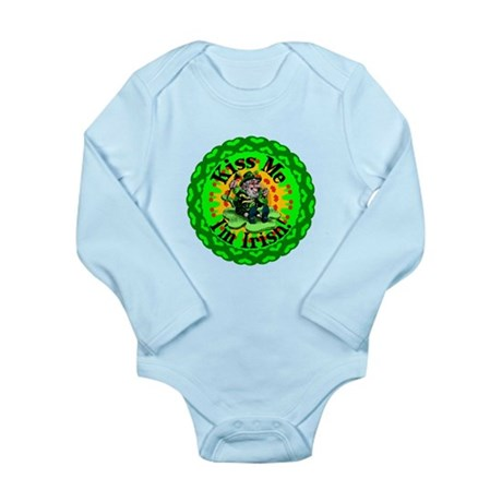 Kiss Me Irish Leprechaun Long Sleeve Infant Bodysu