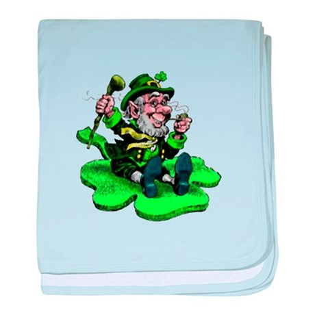 Leprechaun on Shamrock baby blanket