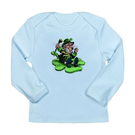 Leprechaun on Shamrock Long Sleeve Infant T-Shirt