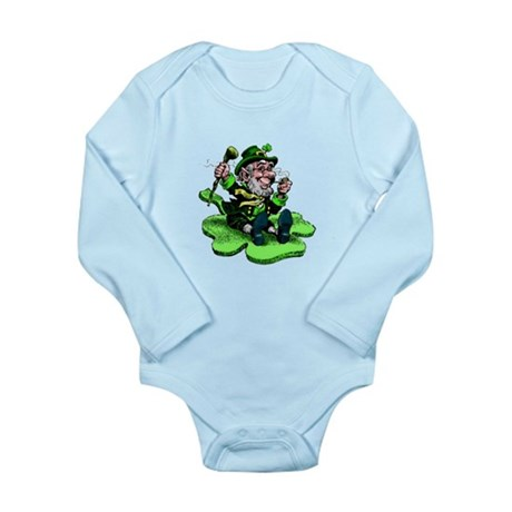 Leprechaun on Shamrock Long Sleeve Infant Bodysuit