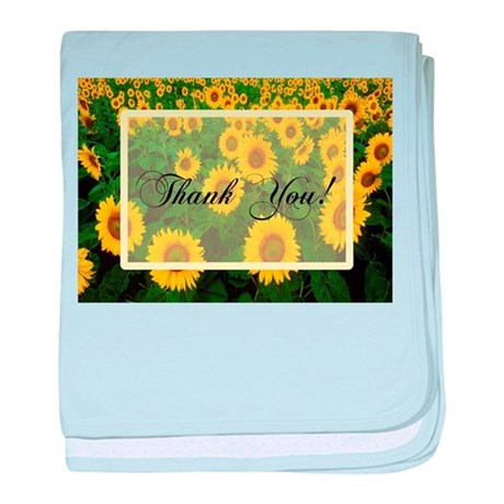 Sunflower Field Thank You baby blanket