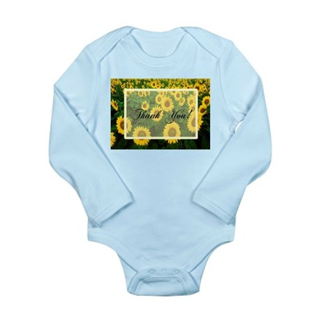 Sunflower Field Thank You Long Sleeve Infant Bodys