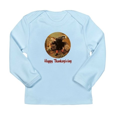 Boy and Thanksgiving Turkey Long Sleeve Infant T-S