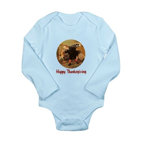Boy and Thanksgiving Turkey Long Sleeve Infant Bod