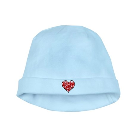 Red Grunge Heart baby hat