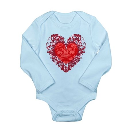 Red Grunge Heart Long Sleeve Infant Bodysuit
