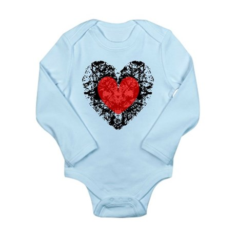 Pretty Grunge Heart Long Sleeve Infant Bodysuit