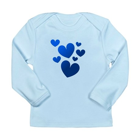 Blue Valentine Hearts Long Sleeve Infant T-Shirt